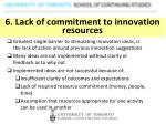 6 lack of commitment to innovation resources