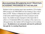 accounting students must maintain academic progress in the major