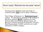 what does restricted access mean