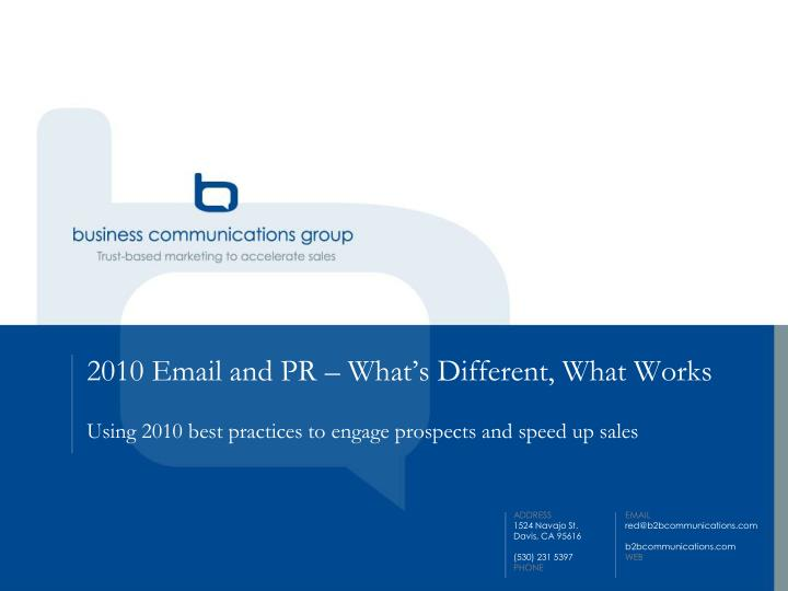 2010 email and pr what s different what works n.