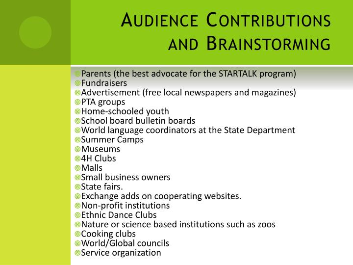 Audience Contributions and Brainstorming