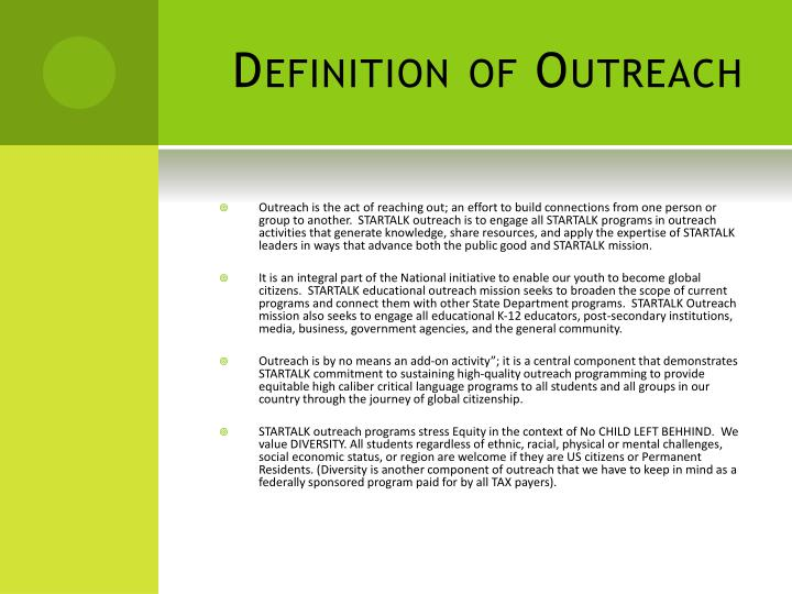 Definition of outreach