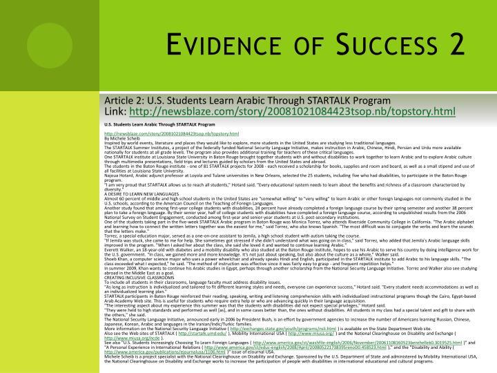 Evidence of Success 2