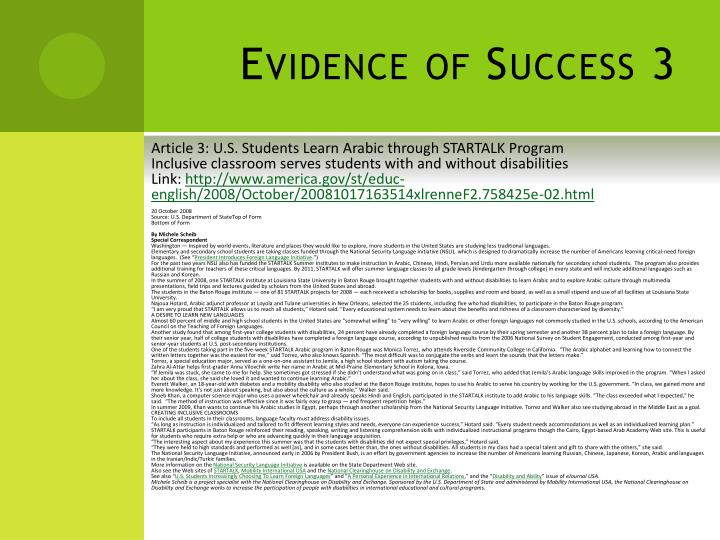 Evidence of Success 3