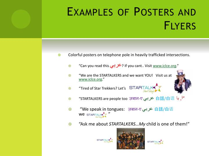 Examples of Posters and Flyers