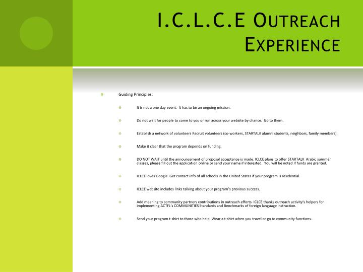 I.C.L.C.E Outreach Experience