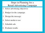 steps in planning for a retail advertising campaign
