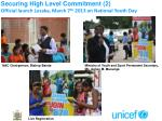 securing high level commitment 2 official launch lusaka march 7 th 2013 on national youth day