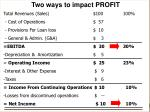 two ways to impact profit