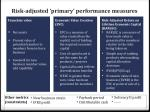 risk adjusted primary performance measures