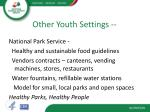 other youth settings