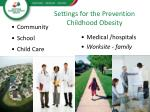 settings for the prevention childhood obesity