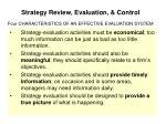 strategy review evaluation control