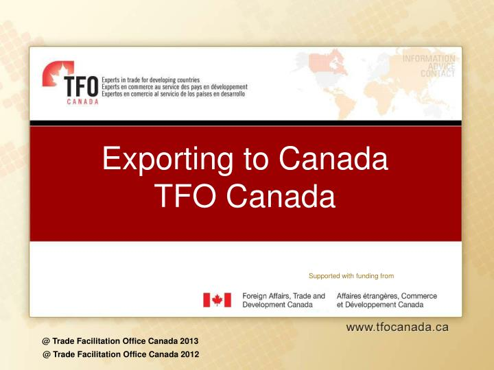exporting to canada tfo canada n.
