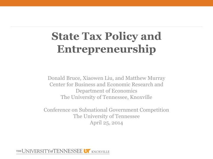 state tax policy and entrepreneurship n.