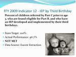 ffy 2009 indicator 12 iep by third birthday