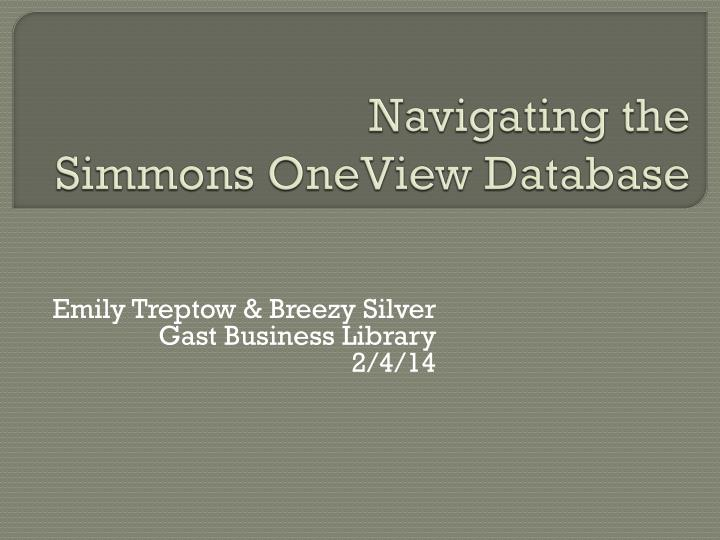 navigating the simmons oneview database n.