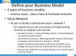 define your business model