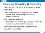 financing recruiting organizing