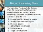 nature of marketing plans