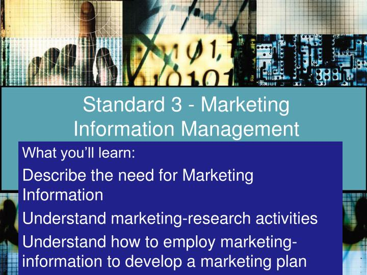 standard 3 marketing information management n.