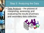 step 3 analyzing the data