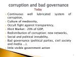 corruption and bad governance today