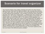 scenario for travel organizer