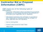 contractor bid or proposal information cbpi