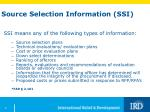 source selection information ssi