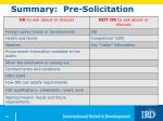 summary pre solicitation