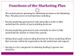 functions of the marketing plan