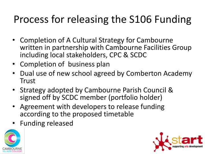 Process for releasing the S106 Funding