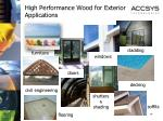 high performance wood for exterior applications