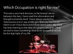 which occupation is right for me