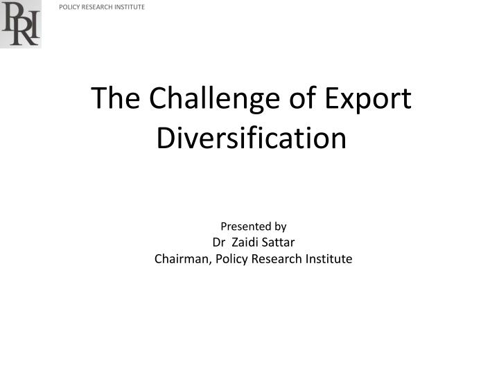 the challenge of export diversification n.