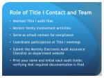 role of title i contact and team