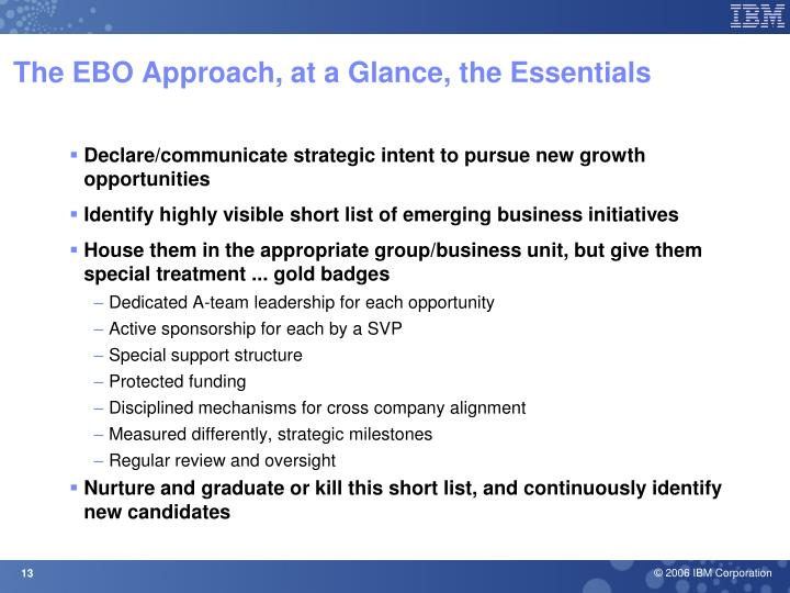 The EBO Approach, at a Glance, the Essentials