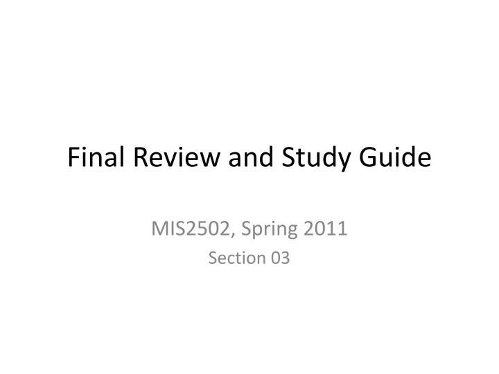 final review and study guide n.