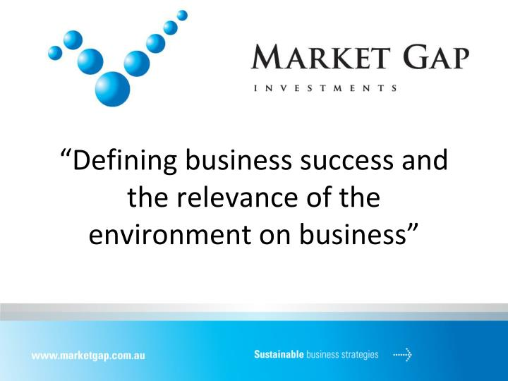 defining business success and the relevance of the environment on business n.