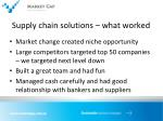 supply chain solutions what worked