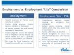 employment vs employment lite comparison