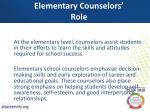 elementary counselors role