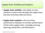 supply chain visibility and analytics