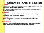 sales audit areas of coverage