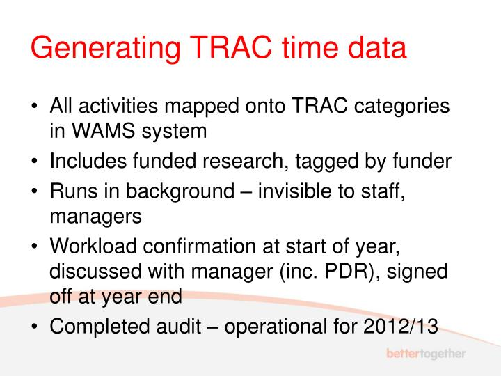 Generating TRAC time data