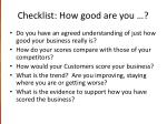 checklist how good are you