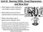 unit iii roaring 1920s great depression and new deal