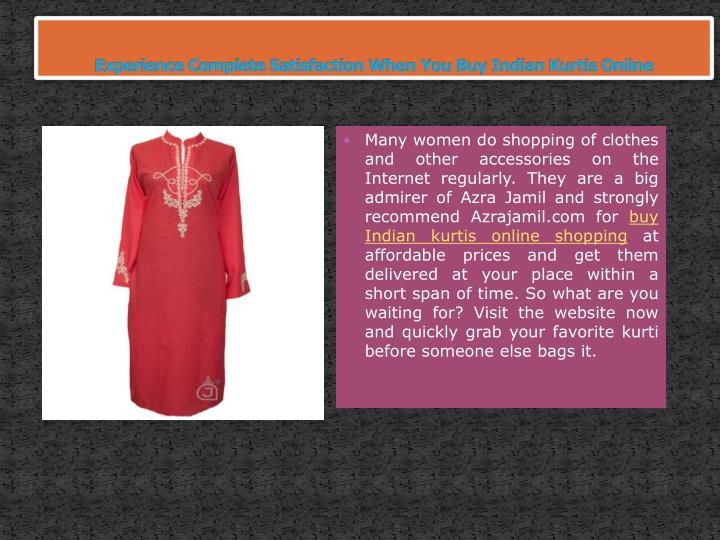 experience complete satisfaction when you buy indian kurtis online n.
