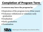 completion of program term